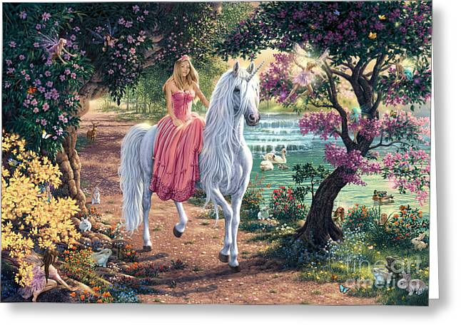 Unicorns Greeting Cards - The Secret Trail Greeting Card by Steve Read
