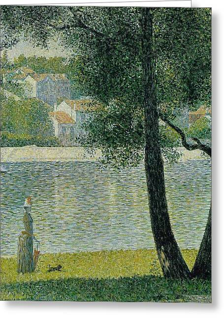 Courbevoie Greeting Cards - The Seine at Courbevoie Greeting Card by Georges Seurat