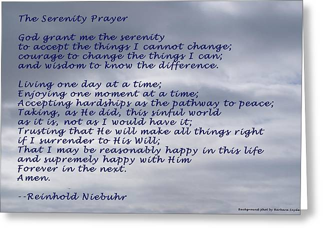 12 Steps Greeting Cards - The Serenity Prayer Greeting Card by Barbara Snyder