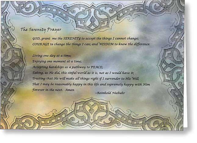 Reinhold Niebuhr Greeting Cards - The Serenity Prayer Greeting Card by HH Photography of Florida