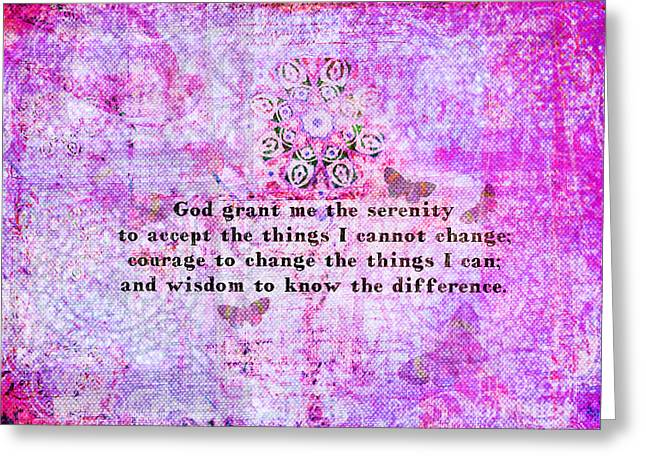 Serenity Prayer Mixed Media Greeting Cards - The Serenity Prayer  Greeting Card by Marigold Winterstamp