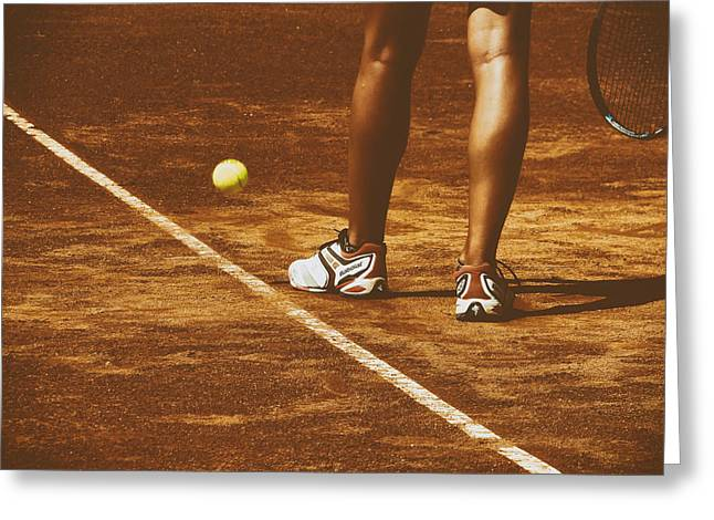 Clay Court Greeting Cards - The Serve Greeting Card by Mountain Dreams