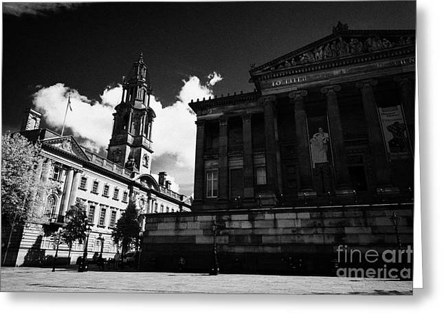 Centre Court Greeting Cards - The sessions house courthouse and Harris Museum and Art Gallery Preston England UK Greeting Card by Joe Fox