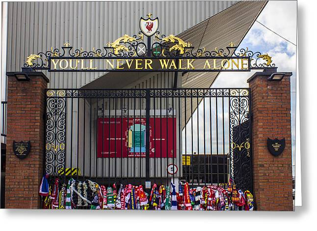 Never Alone Greeting Cards - The Shankly Gates Greeting Card by Paul Madden