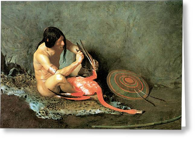 Native American Rug Greeting Cards - The Shield Maker Greeting Card by George De Forest Brush