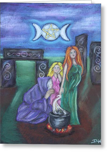 Maiden Pastels Greeting Cards - The Silvery Moon Greeting Card by Diana Haronis