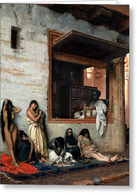 Slaves Greeting Cards - The Slave Market Greeting Card by Jean-Leon Gerome