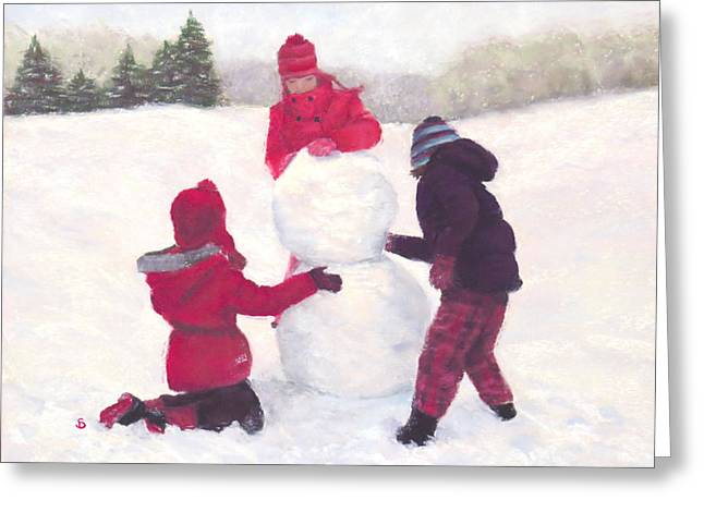 Glove Pastels Greeting Cards - The Snowman Greeting Card by Stacey David