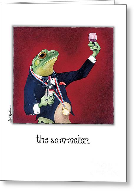 Humorous Greeting Cards Paintings Greeting Cards - The Sommelier Greeting Card by Will Bullas