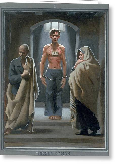 Holy Week Paintings Greeting Cards - 1. The Son of Man with Job and Isaiah / from The Passion of Christ - A Gay Vision Greeting Card by Douglas Blanchard