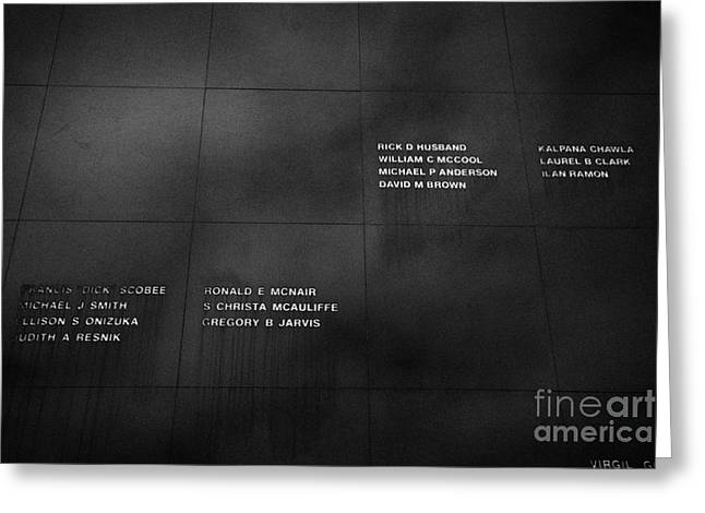 Kennedy Space Center Greeting Cards - the space mirror memorial at the Kennedy Space Center Florida USA Greeting Card by Joe Fox