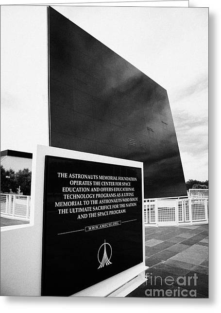 Kennedy Space Center Greeting Cards - the space mirror memorial at the Kennedy Space Center Greeting Card by Joe Fox