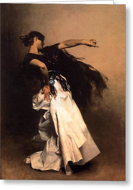 Spanish Dancer Greeting Cards - The Spanish Dancer Greeting Card by John Singer Sargent