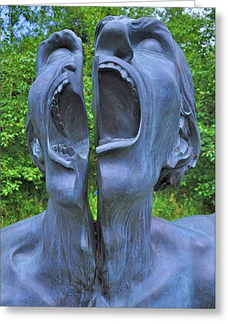 Man Sculptures Greeting Cards - The Split Man Greeting Card by Barry Lennon