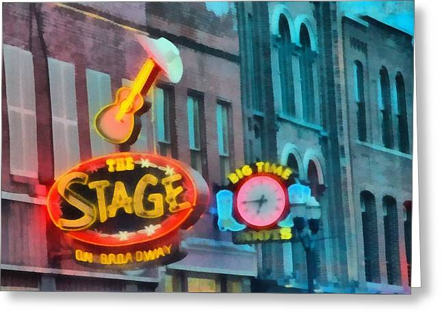 Nashville Tennessee Paintings Greeting Cards - The Stage On Broadway Greeting Card by Dan Sproul