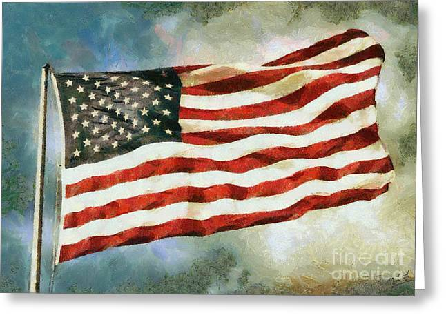 National Digital Art Greeting Cards - The Stars and Stripes Greeting Card by Nishanth Gopinathan