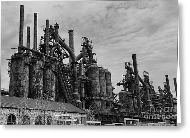 Steel: Iron Greeting Cards - The Steel Mill in Black and White Greeting Card by Paul Ward