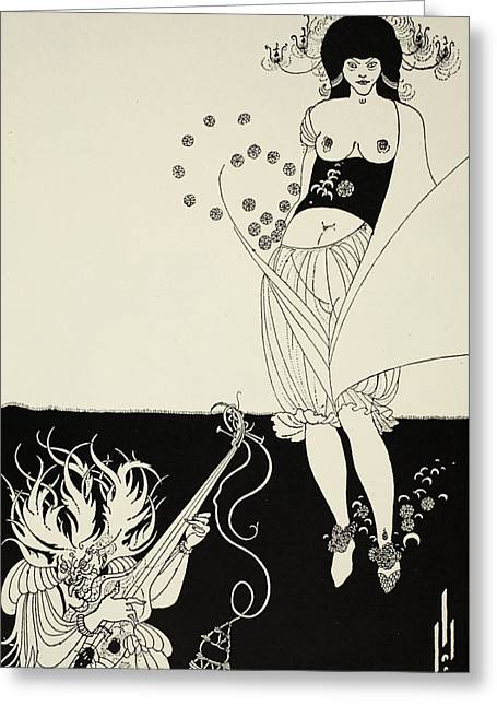 Stringed Instrument Greeting Cards - The Stomach Dance Greeting Card by Aubrey Beardsley
