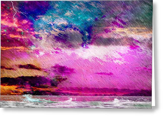 Photography Lightning Digital Art Greeting Cards - The Storm Greeting Card by EricaMaxine  Price