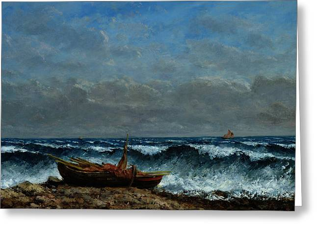 Windy Greeting Cards - The Stormy Sea Greeting Card by Gustave Courbet