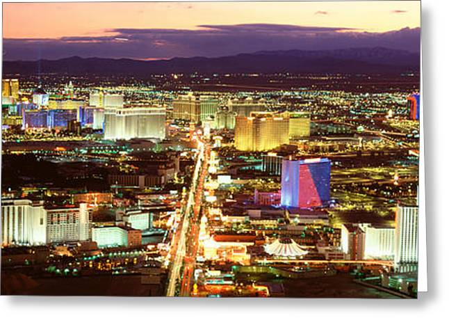 The Strip, Las Vegas Nevada, Usa Greeting Card by Panoramic Images