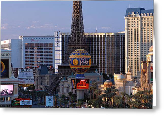 Bellagio Greeting Cards - The Strip Las Vegas Nv Greeting Card by Panoramic Images