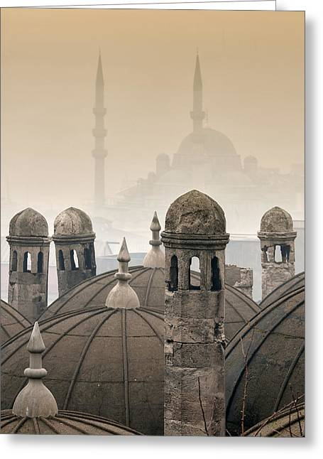 Foggy Day Greeting Cards - The Suleymaniye Mosque and New Mosque in the backround Greeting Card by Ayhan Altun