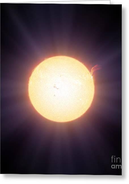 Glowing Hydrogen Greeting Cards - The Sun, Artwork Greeting Card by Detlev van Ravenswaay