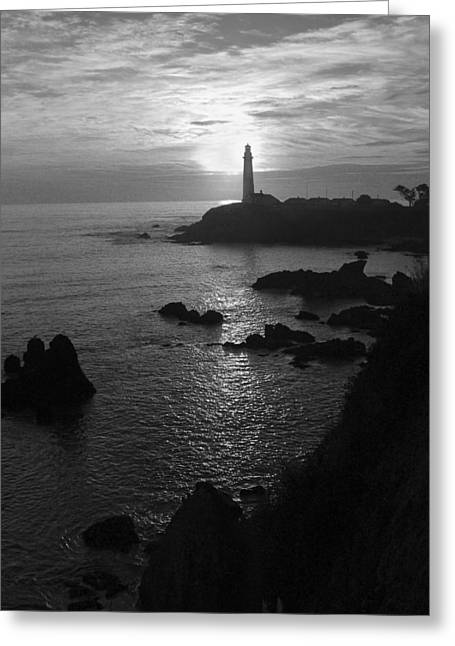 Ano Nuevo Photographs Greeting Cards - The Sun Is Setting Behind The Pigeon Point Light Station Near Ano Nuevo Greeting Card by Scott Lenhart