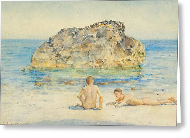 Homo Paintings Greeting Cards - The Sunbathers Greeting Card by Henry Scott Tuke