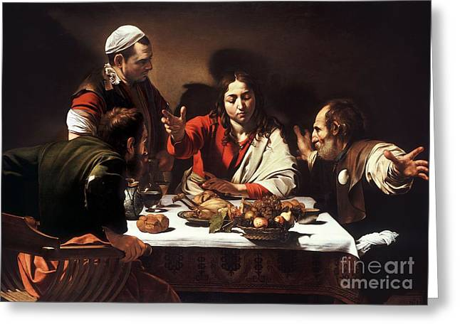 Photographs Drawings Greeting Cards - The Supper at Emmaus  Greeting Card by Celestial Images