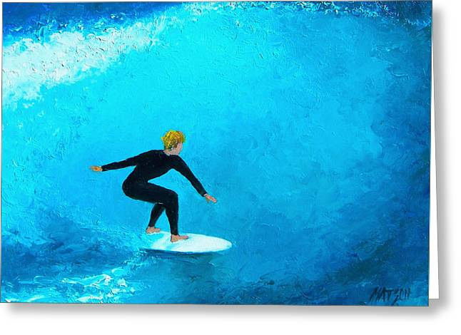 Wave Riders Greeting Cards - The Surfer Greeting Card by Jan Matson