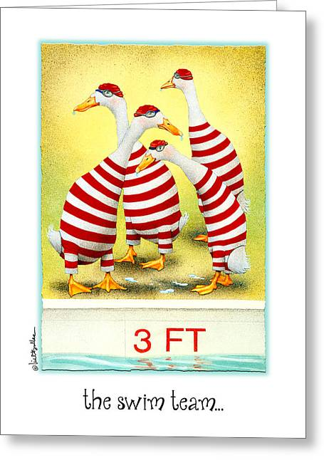 Swimmers Greeting Cards - The Swim Team... Greeting Card by Will Bullas