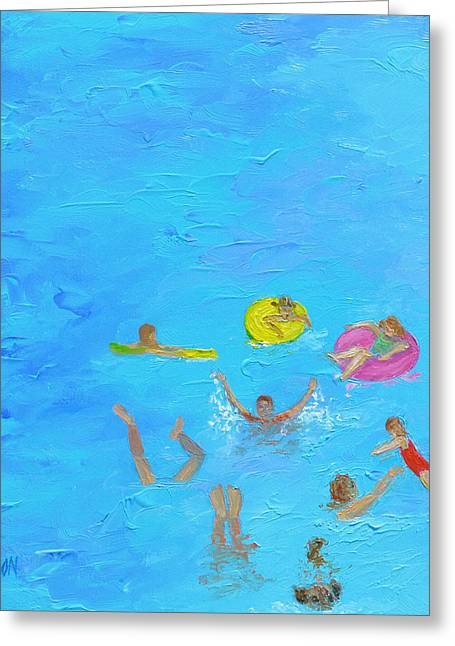 Children At Beach Greeting Cards - The Swimmers Greeting Card by Jan Matson