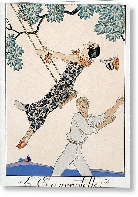 Pushing Greeting Cards - The Swing Greeting Card by Georges Barbier