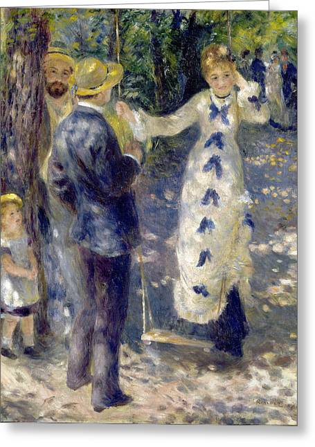 1876 Greeting Cards - The Swing Greeting Card by Pierre-Auguste Renoir