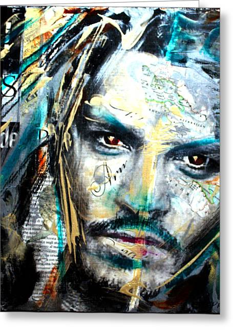 Mad Hatter Mixed Media Greeting Cards - The Talented Mr. Depp Greeting Card by Penelope Stephensen