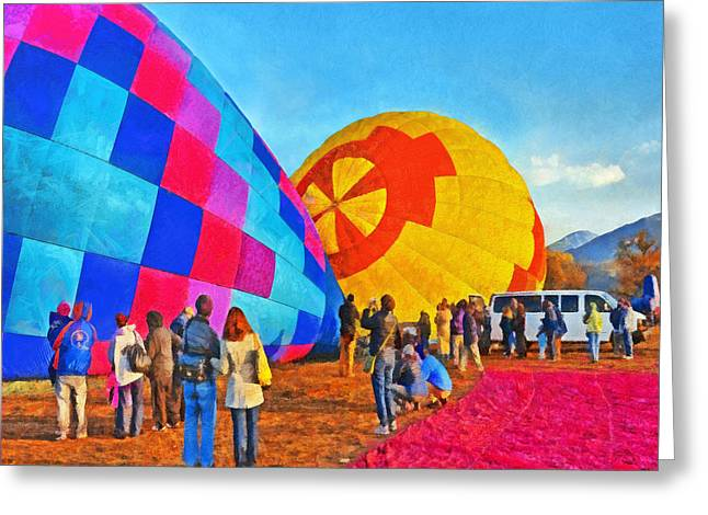 Taos Digital Greeting Cards - The Taos Mountain Balloon Rally 2 Greeting Card by Digital Photographic Arts