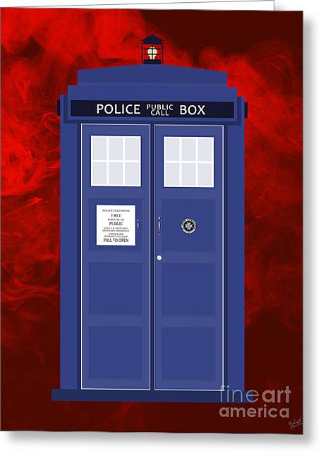 Detective Greeting Cards - The Tardis Greeting Card by Nishanth Gopinathan