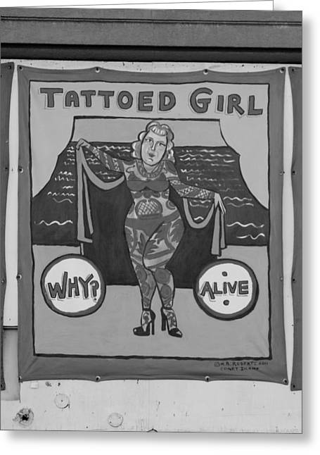 Tattoed Greeting Cards - THE TATTOED GIRL in BLACK AND WHITE Greeting Card by Rob Hans