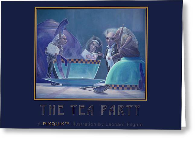 Tea Party Greeting Cards - The Tea Party Greeting Card by Leonard Filgate