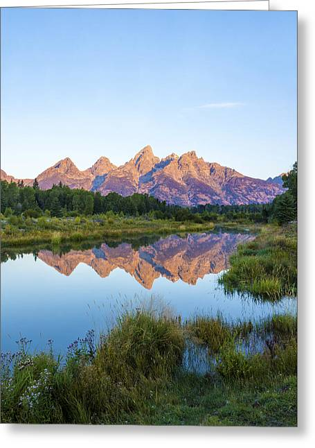 The Tetons Reflected On Schwabachers Landing - Grand Teton National Park Wyoming Greeting Card by Brian Harig