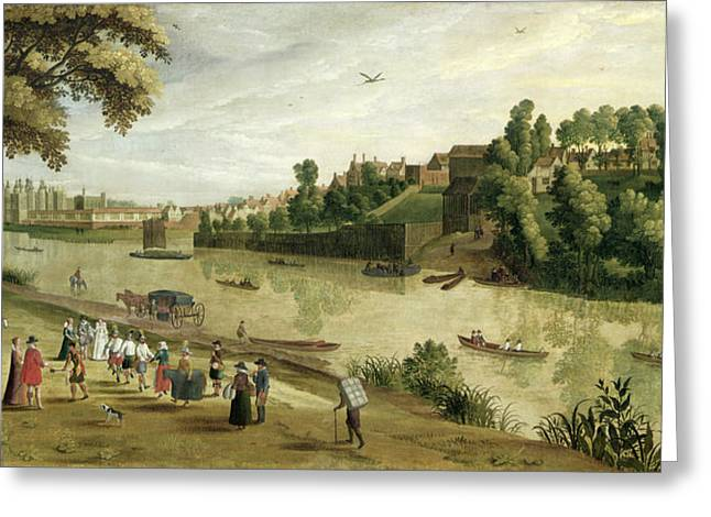 Folk Dancing Greeting Cards - The Thames At Richmond, With The Old Greeting Card by Flemish School