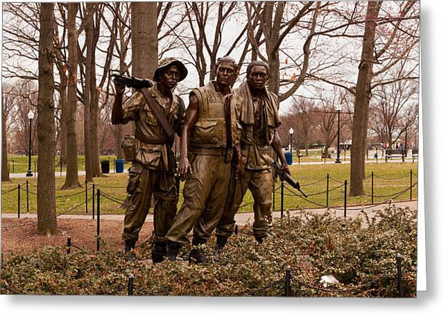 Vietnam War Greeting Cards - The Three Soldiers Bronze Statues Greeting Card by Panoramic Images