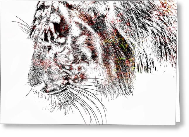 Wildcats Mixed Media Greeting Cards - The Tiger Greeting Card by Toppart Sweden