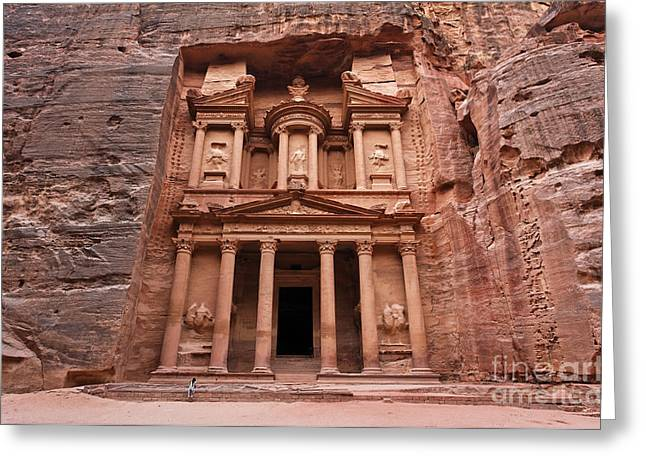 Petra - Jordan Greeting Cards - The Treasury in Petra Jordan Greeting Card by Robert Preston