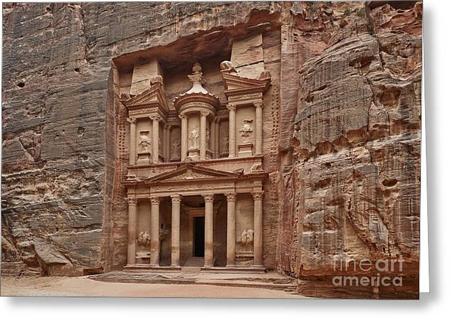 the treasury Nabataean ancient town Petra Greeting Card by Juergen Ritterbach