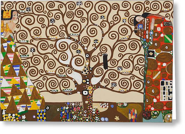 Green Leafs Drawings Greeting Cards - The Tree Of Life Greeting Card by Gustav Klimt