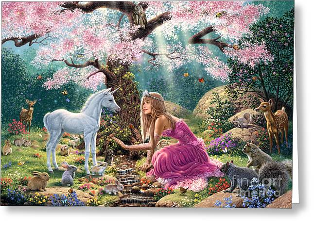Unicorns Greeting Cards - The Tree of Life Greeting Card by Steve Read