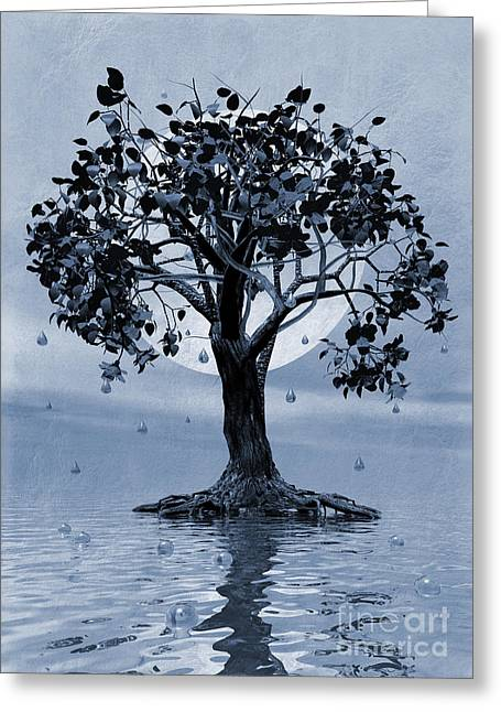 Weeping Digital Art Greeting Cards - The Tree that Wept a Lake of Tears Greeting Card by John Edwards
